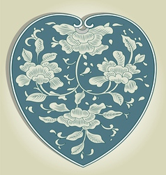 Asian heart ornament vector