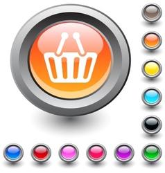 Shopping cart round button vector