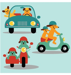 Dogs and vehicles vector
