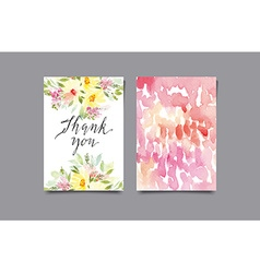 Invitation card with watercolor flowers thank you vector