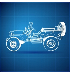 Vintage blueprint of american jeep vector