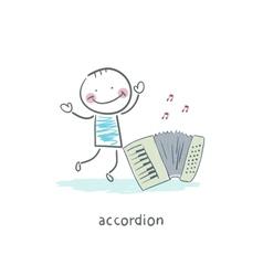 Man and accordion vector