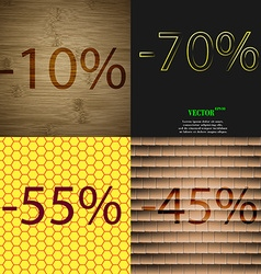 70 55 45 icon set of percent discount on abstract vector