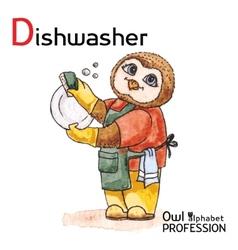 Alphabet professions owl letter d - dishwasher vector