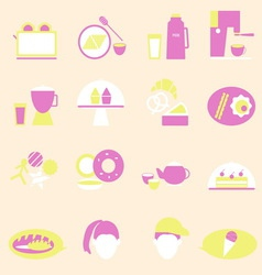 Bakery and drinks color icons vector