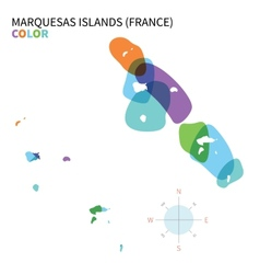 Abstract color map of marquesas islands vector