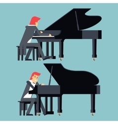 Pianist piano player concept character flat design vector