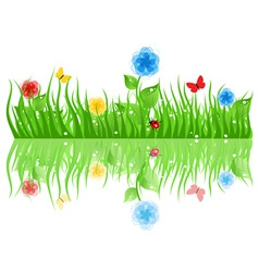 Grass with flowers a vector illustration vector