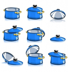 Set of pans with lid vector