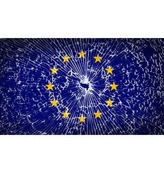 Flags european union with broken glass texture vector