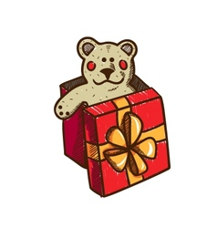 Present box with teddy bear vector