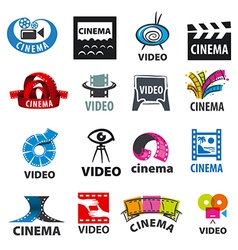 Large set of logos for video production vector