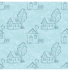 Seamless pattern houses contours and trees vector