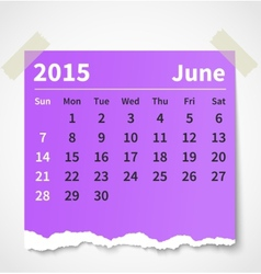 Calendar june 2015 colorful torn paper vector