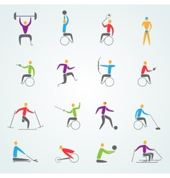 Disabled sports icons set vector