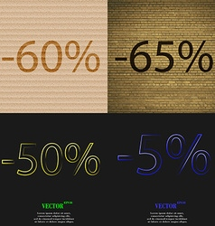 65 50 5 icon set of percent discount on abstract vector