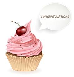 Congratulations cupcake vector