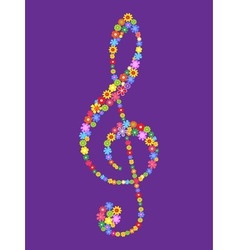 Treble clef of flowers vector