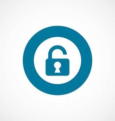 Unlock bold blue border circle icon vector