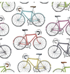 Vintage road bicycle seamless pattern hand drawn vector