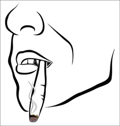 Face sketch with cigarette vector