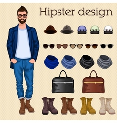 Hipster guy elements vector