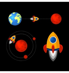 Mission to mars icons set vector