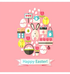 Easter greeting card with flat icons set egg vector