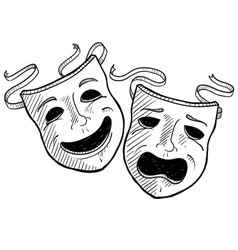 Doodle drama masks vector