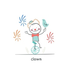 Clown riding a unicycle vector