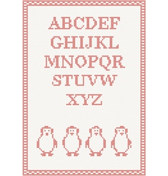 Red knitted alphabet with penguin vector