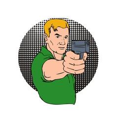 Man pointing gun vector