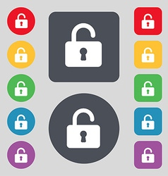 Open padlock icon sign a set of 12 colored buttons vector