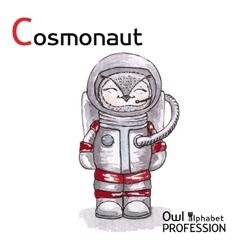 Alphabet professions owl letter c - cosmonaut vector