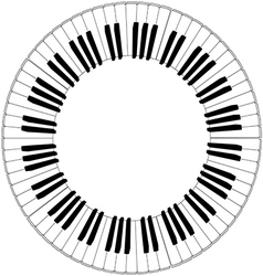 Round piano keyboard frame vector
