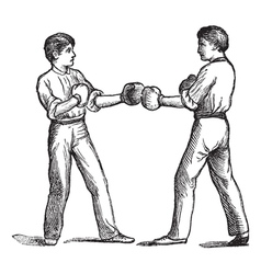 Two boxers vintage engraving vector