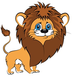 Cute wild animal lion isolated on white vector