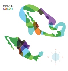 Abstract color map of mexico vector