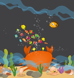 Crab big is under a sea water vector