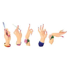 Set of beautiful female hands 2 vector