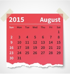 Calendar august 2015 colorful torn paper vector