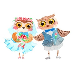 Watercolor cute owls vector