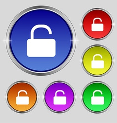 Open padlock icon sign round symbol on bright vector
