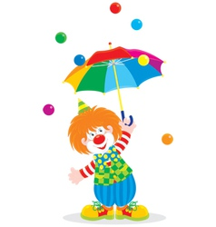 Circus clown with an umbrella vector