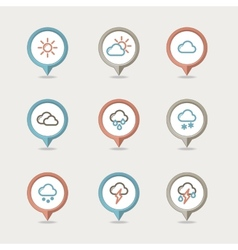 Weather mapping pins icon vector