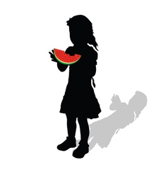Girl with watermelon vector