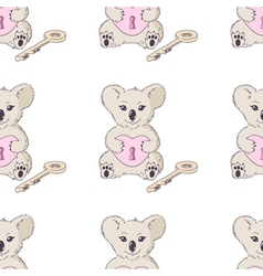 Koala with heart and key seamless pattern vector