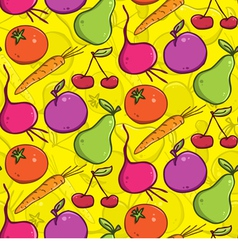 Seamless background colorful fruits and vegetables vector