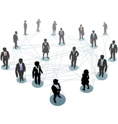 Business people network connection nodes vector