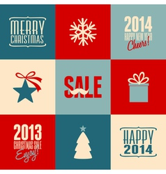 Retro design christmas cards set vector